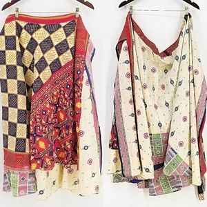 Dresses & Skirts - Skirt Wrap Festival Silk Boho Print Small Medium